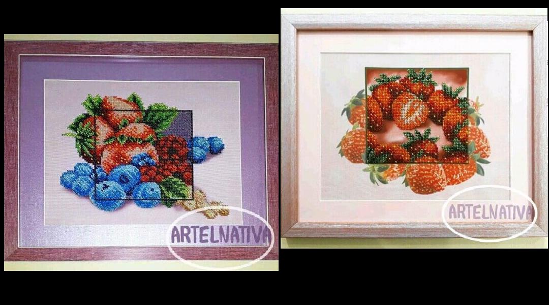 Вышивка: ягоды и фрукты