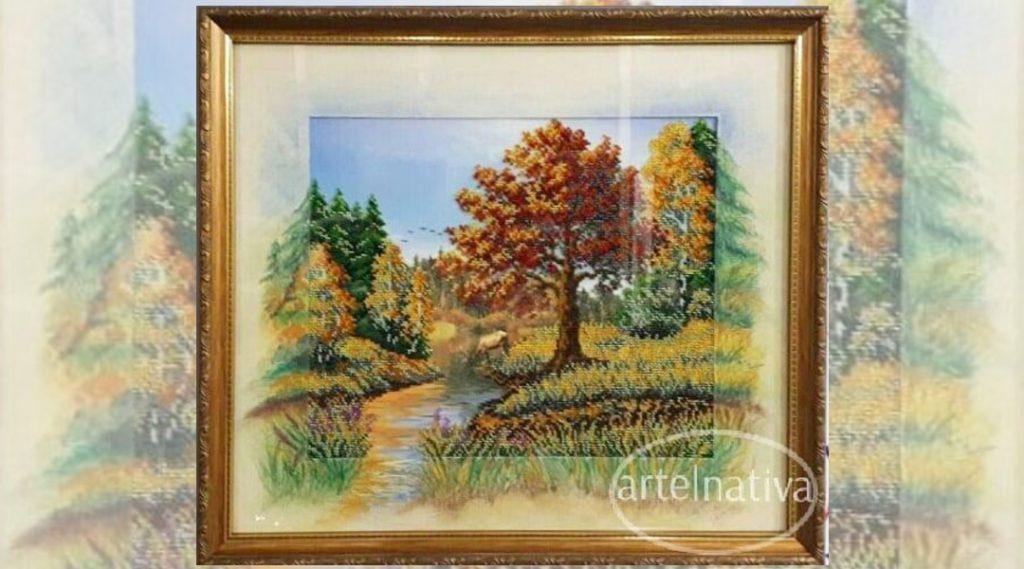 Оформление вышивки: осень